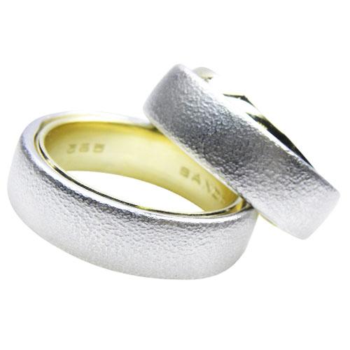 Ring im Ring  Gelbgold Weißgold poliert matt