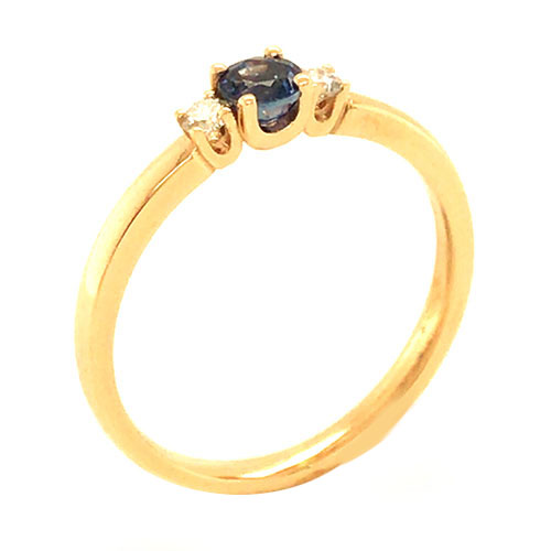 Verlobungsring Gold 750 Safir Brillant VR-GR011